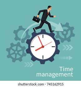 Time management, control. Vector illustration flat design. Isolated on background. Businessman run along gear in form of clock. Organization of process.