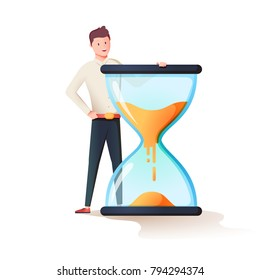 Time management, control. Vector illustration flat design. Isolated on background. Businessman stang near huge sandclock. Organization of process. Cute Happy man have a lot of free time