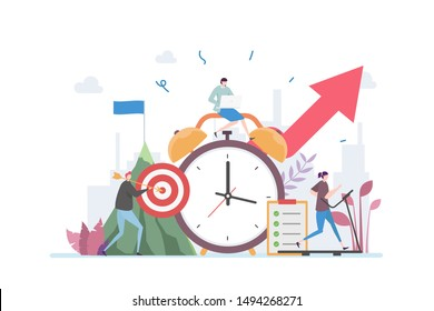 Time Management Discipline Vector Illustration Concept Showing active group of people doing their daily routine productively to reach goal, Suitable for landing page, ui, web, App intro card