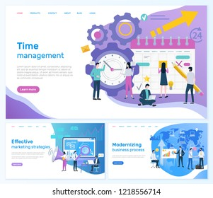 Time management, effective marketing strategies vector. Modernizing business process teamwork working on plan organization social networks promotion