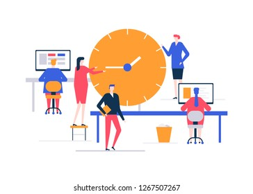 Time management - flat design style colorful illustration on white background. A composition with business team, male, female colleagues working at the computers in the office, image of big clock