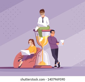 Time management flat vector illustration. Freelancers working cartoon characters. Self motivation. Programmers workplace, workspace. Deadlines, timeliness. Young people with hourglass metaphor concept