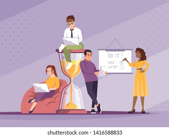 Time management flat vector illustration. Freelancers working cartoon characters. Self motivation. Programmers, designers. Deadlines, timeliness. Young people with hourglass metaphor concept
