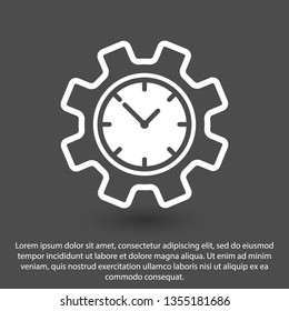 Time management icon. Clock and gear icon.