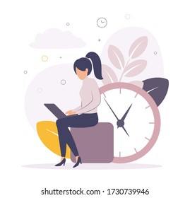 Time management. Illustration of a woman working on a laptop near the big clock, on the background of leaves, watches, clouds, circles. Image of a girl sitting with a laptop near the big clock