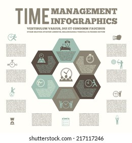 Time management infografic layout poster with team work strategy list to-do planning and alarm clock vector illustration