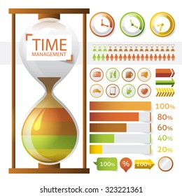 Time management infographic. Vector illustration with a hourglass and different kinds of bars, arrows and clocks.