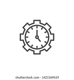 Time management line icon. Gear with clock linear style sign for mobile concept and web design. Productivity and efficiency outline vector icon. Symbol, logo illustration. Vector graphics