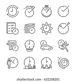 Time Management line icon set. Included the icons as clock, working hour, ot, velocity, speed, fast and more.