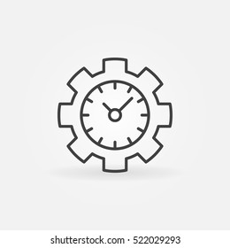 Time management line icon. Vector clock in a gear concept symbol or logo element in thin line style