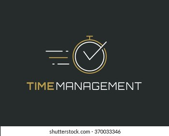 Time management logo template. Stopwatch line icon isolated on clean background. Vector concept symbol.