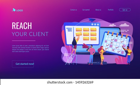 Time management, marketers teamwork. Media planning, media representation control, reach your client, best media plan for your brand concept. Website homepage landing web page template.