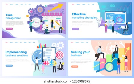 Time management, marketing strategies vector, implementing business solutions and scaling. Calendar and computer, organizer and statistics graphics. Webpage template, landing page in flat style