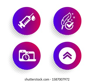 Time management, Medical syringe and Hypoallergenic tested icons simple set. Halftone dots button. Swipe up sign. Laptop device, Vaccination, Feather. Scroll screen. Science set. Vector
