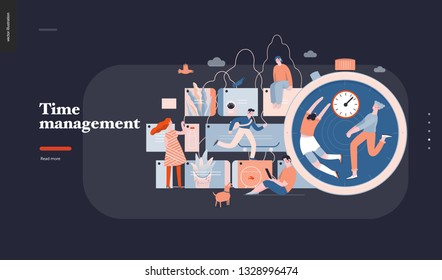 Time management - modern flat vector concept digital illustration of time management metaphor, a stopwatch, timeline and people in workflow. Creative landing web page design template