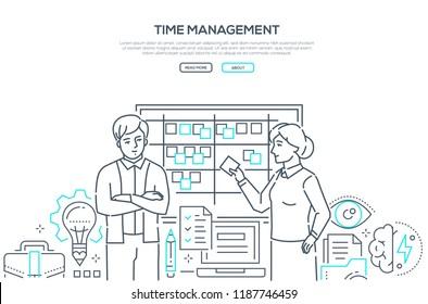 Time management - modern line design style banner