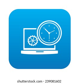 Time management on blue button,clean vector