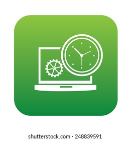 Time management on green button,clean vector