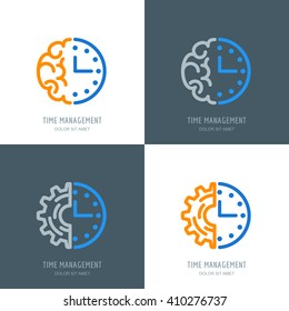 Time management and planning business concept. Vector logo or icons set. Linear brain, clock and gear cogs symbols. Abstract outline flat illustration, isolated on white and black backgrounds.