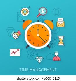 Time management. Planning, time organization of working day. Flat design modern vector illustration concept.