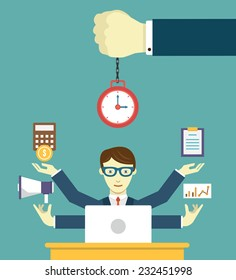 Time management - pledge of success. Business planning and results - vector illustration
