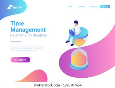 Time management project plan schedule business concept vector flat 3d web isometric infographic. Young man with laptop sitting on hourglass.