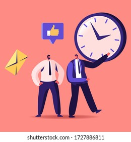 Time Management, Sales Funnel, Procrastination in Business. Businessman Character Point on Huge Clock to Colleague. Working Productivity Planning and Scheduling, Cartoon People Vector Illustration