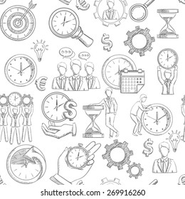 Time management seamless pattern with sketch planning strategy elements vector illustration