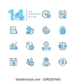 Time management - set of line design style icons, black and blue, isolated on white background. High quality business metaphors. Strategy, checklist, timer, scales, money exchange, deadline, teamwork