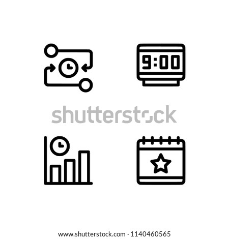 Time Management Set Outline Icon EPS Stock Vector Royalty Free