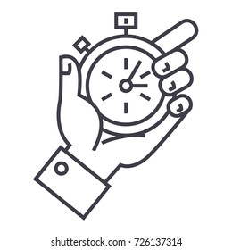 time management, stopwatch in hand vector line icon, sign, illustration on background, editable strokes