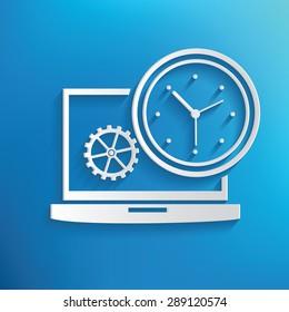 Time management symbol on blue background,clean vector