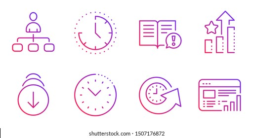 Time management, Management and Update time line icons set. Scroll down, Facts and Ranking stars signs. Web report symbol. Office clock, Agent. Business set. Gradient time management icon. Vector