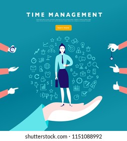Time management. Vector flat minimalistic concept with businesslady stand, isolated planning organizing icons & human hands. Line art. Business illustration. Web banner, consulting, coaching projects.
