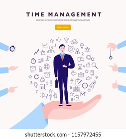 Time management. Vector flat minimalistic concept with businessman stand, isolated planning organizing icons & human hands. Line art. Business illustration. Web banner, consulting, coaching projects.