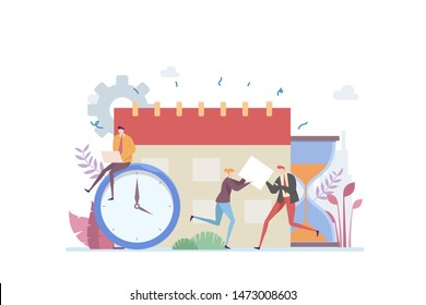 Time Management Vector Illustration Concept Showing busy businessman planning monthly schedule, Suitable for landing page, ui, web, App intro card, editorial, flyer, and banner.