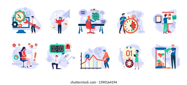 Time management vector, people with clock and timers, man in hurry, sand glass and running clock, schedule. Person fail to do tasks flat style isolated. People unable to organize their tasks