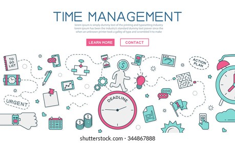 Time Management Website Banner Landing Page Stock Vector Royalty