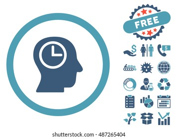 Time Manager icon with free bonus clip art. Vector illustration style is flat iconic bicolor symbols, cyan and blue colors, white background.
