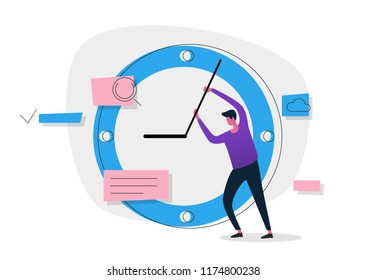Time managment concept banner. Use for web banner, infographics, hero images. Flat vector onboarding illustration isolated on white background.