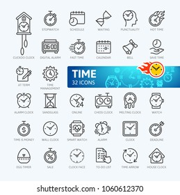 Time minimal thin line web icon set. Outline icons collection. Simple vector illustration