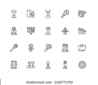 Time is money, Attrition, Confidentiality agreement, Due diligence, Hourglass, Exit interview, Conversation, Change management outline vector icons from 20 set