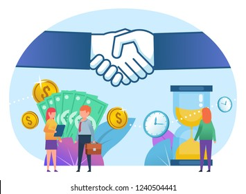 Time and money in business concept, successful deal. Poster for web page, banner, social media, presentation. Flat design vector illustration