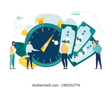 Time is money, business and Finance. Payment day, clock and money vector illustration-vector