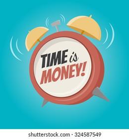 time is money cartoon alarm clock