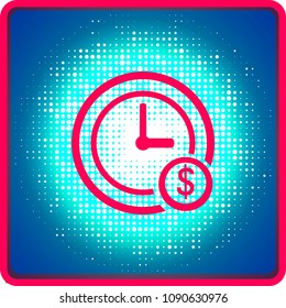 Time is money concept, clock and coin, long term financial investment, superannuation savings, future income, annual revenue, money profit and benefit, vector flat line icon