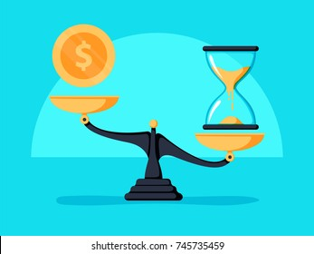 Time is money concept. Clok and money symbols on scale. Vector illustration. Business Finance Save money for prepare in the future. Compound interest, financial investments in future