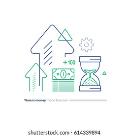 Time is money concept, financial long term investment plan, budget management, fund rising, asset growth, income increase, cash bills bundle, compound interest, vector mono line icons