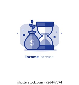 Time is money concept, financial long term investment plan, fund raising, income increase, compound interest, vector line icon