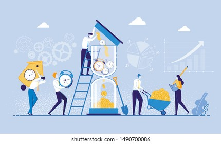 Time is Money Concept Flat Cartoon Vector Illustration. People Bringing Clocks to Hourglass, Watch is Transformed into Income. Character Collecting Money and Woman Counting. Time Management.